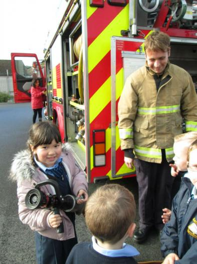 Great excitement as P1 and P2 meet members of the Fire Service!